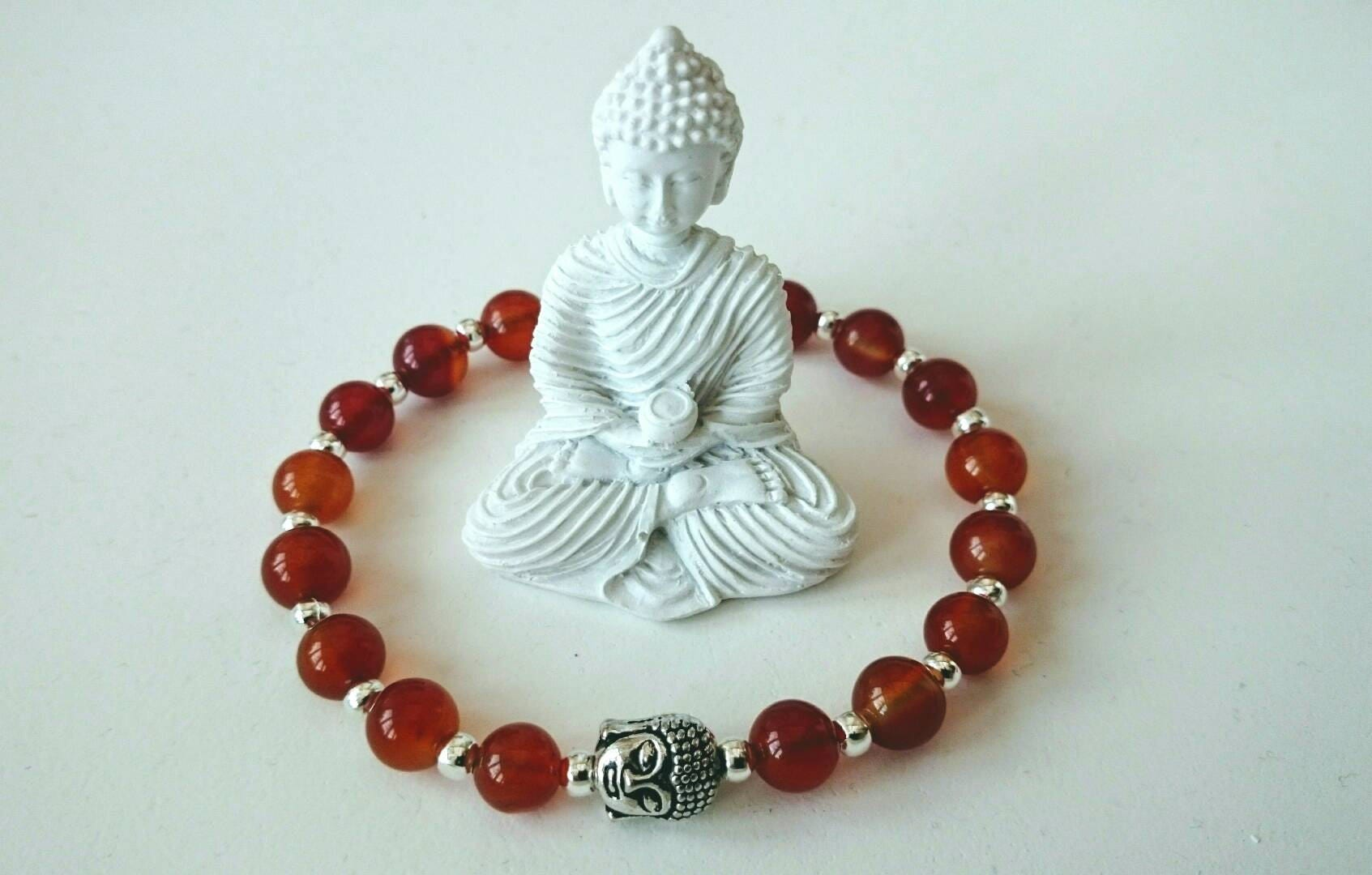 Orange Agate Orange jade Buddha bracelet mens bracelet unisex bracelet UK