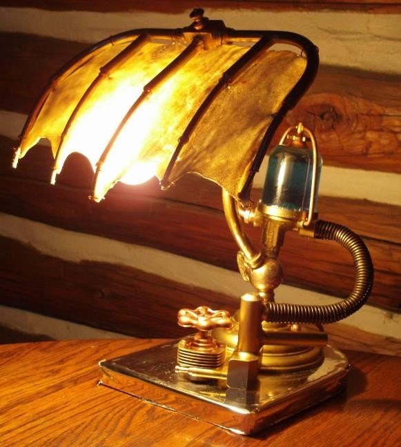 steampunk skeletal desk lamp one of a kind art by willrockwell