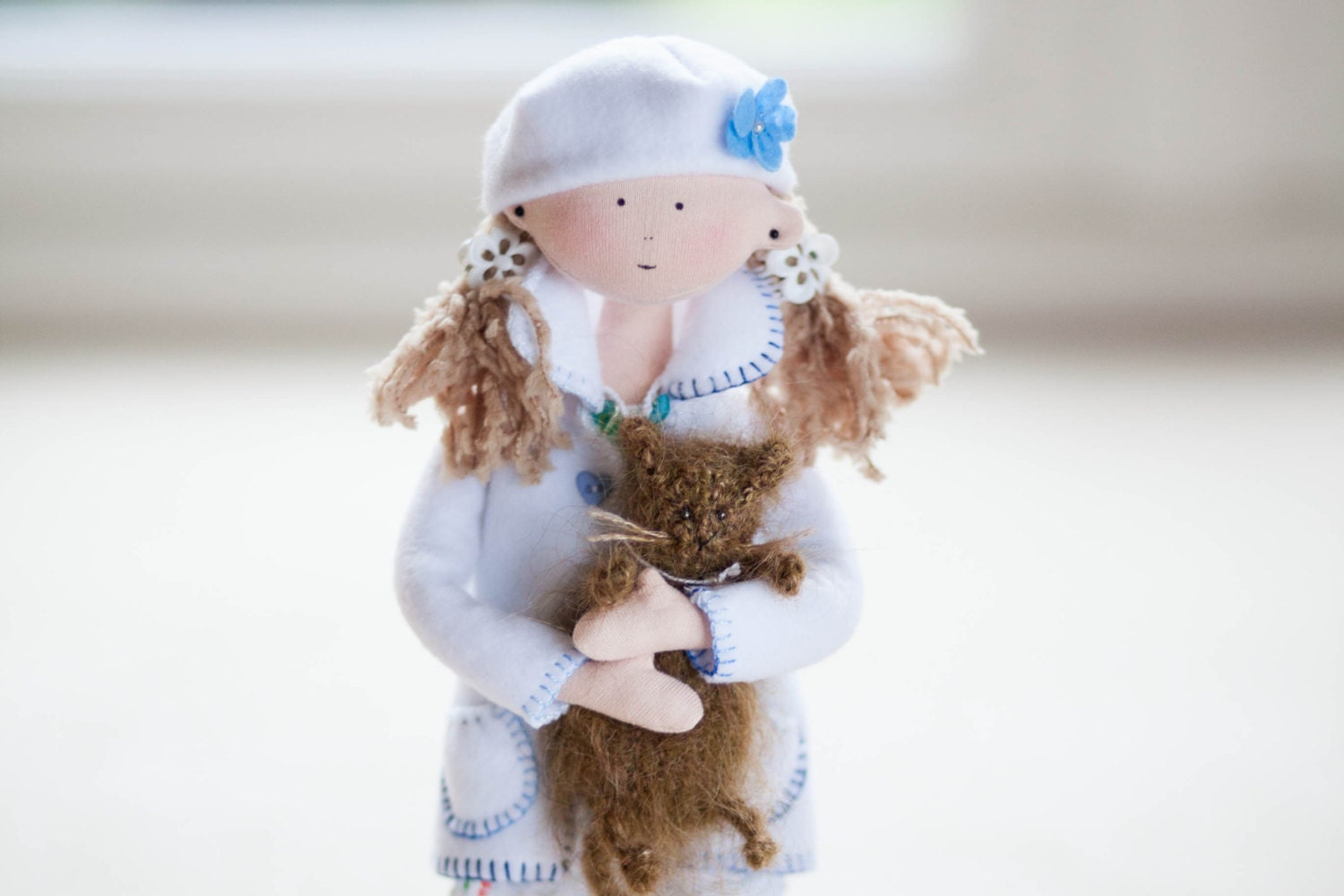 Millie Rag Doll with a Cat-Winter/Christmas Home Decor-Christmas Ornament-OOAK Art Doll-Interior Decoration-White/Blue-Cute Cloth Doll-UK - MintyClub
