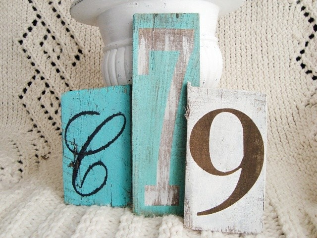 Number 7- seven in white and turquoise on reclaimed wood