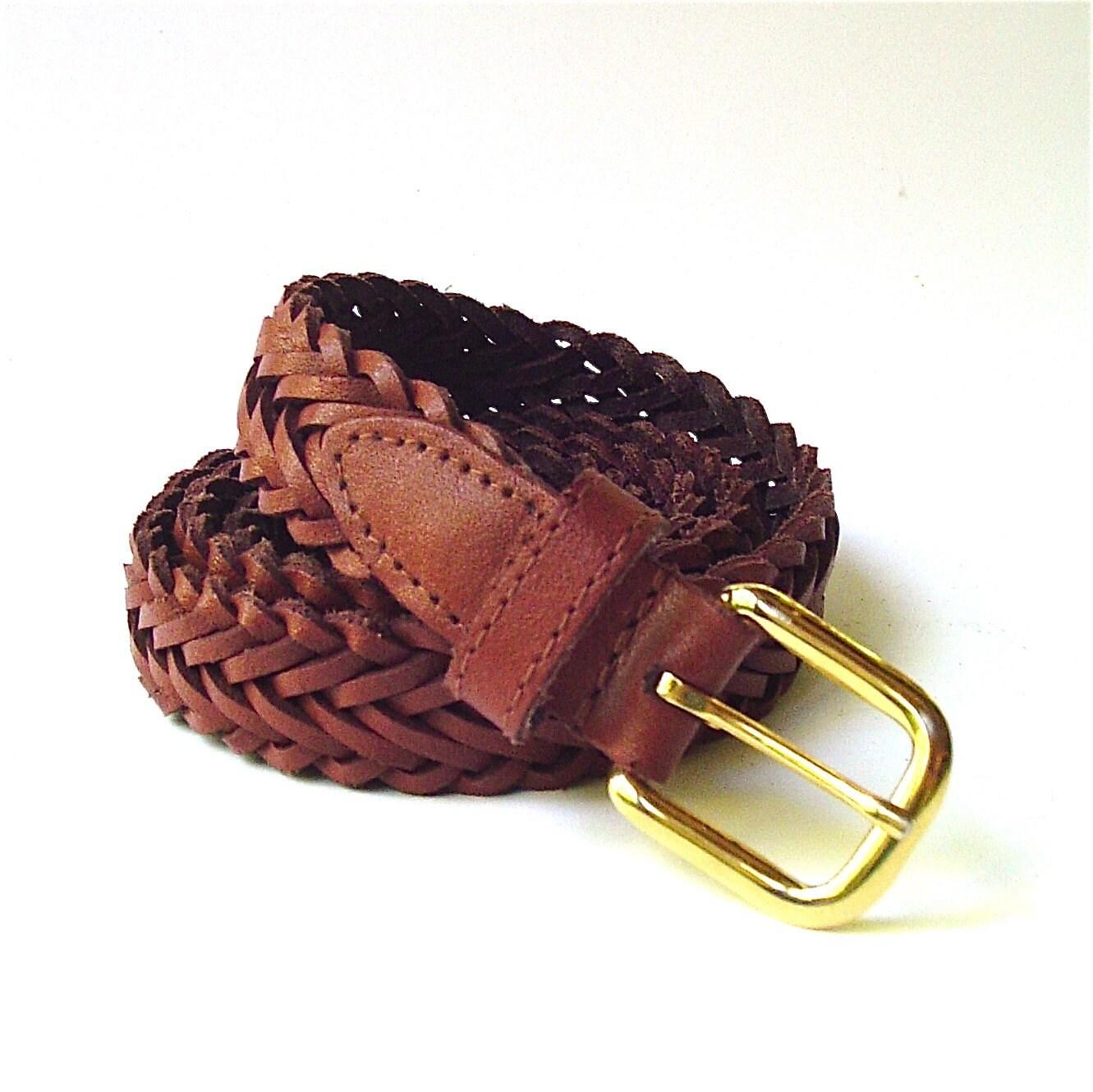 braided vintage narrow brown leather belt by skinnyandbernie