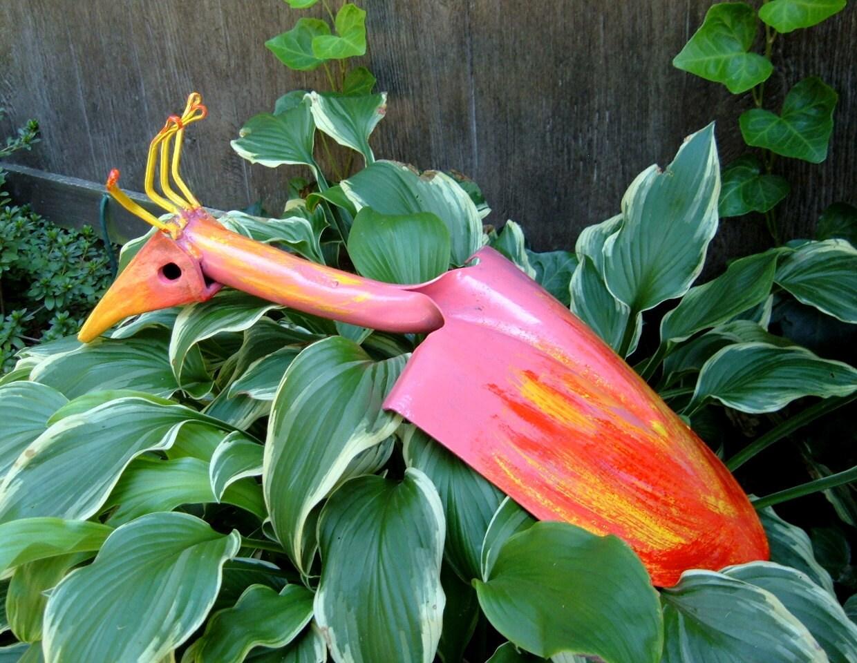 Pink Tropical Bird Yard Art Handmade Iron Art By Froglevelfarm