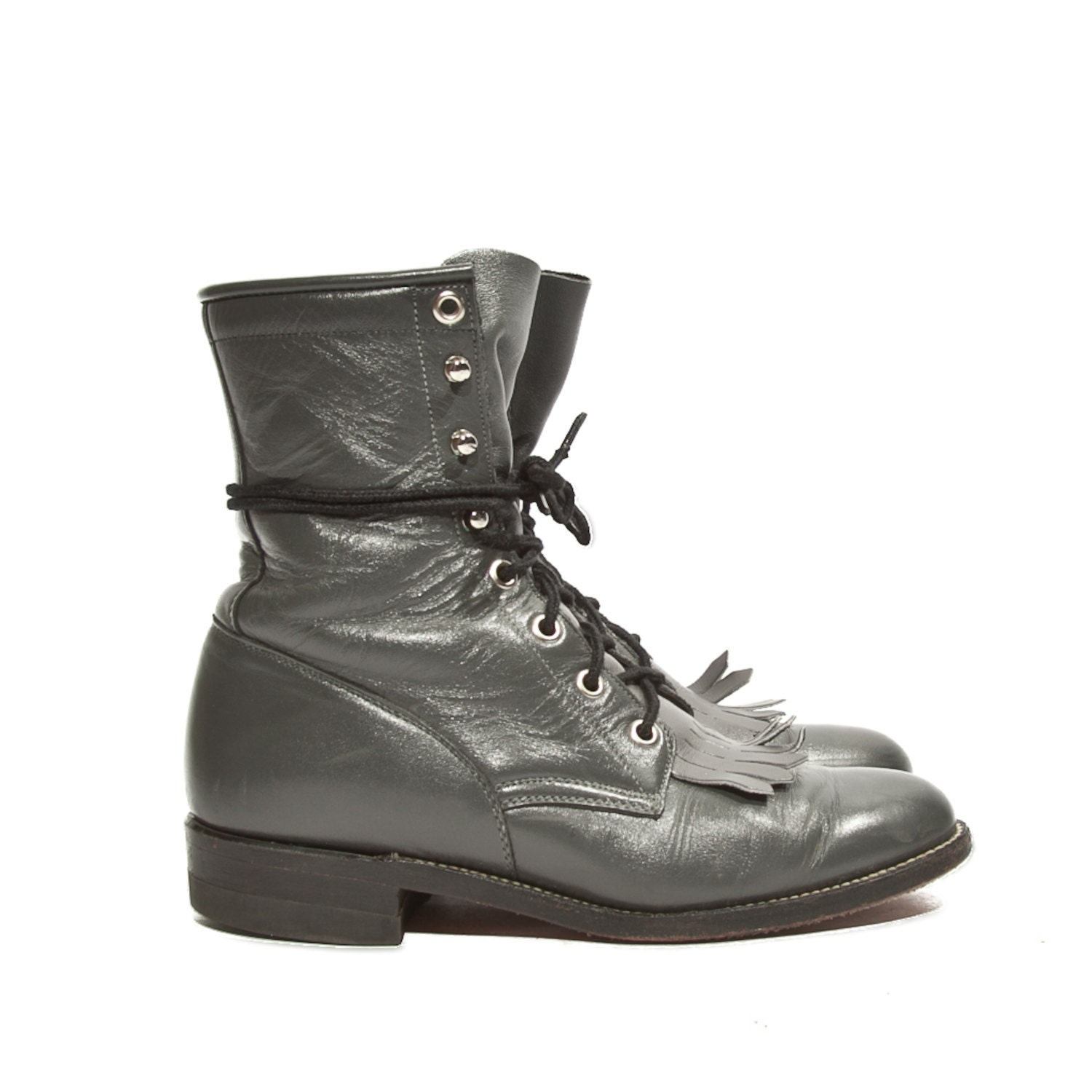 s lace up justin roper boots gray by rabbithousevintage