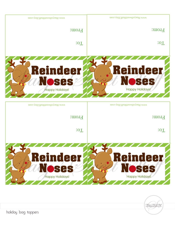 Items similar to DIY Printable Bag Topper: Reindeer Noses, Instant ...