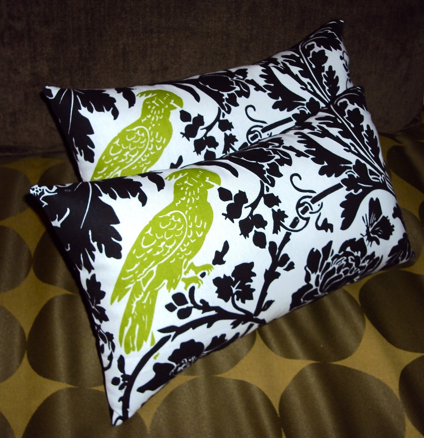 2 Green Black and White Parrot Floral Fabric Mini Lumbar Pillows