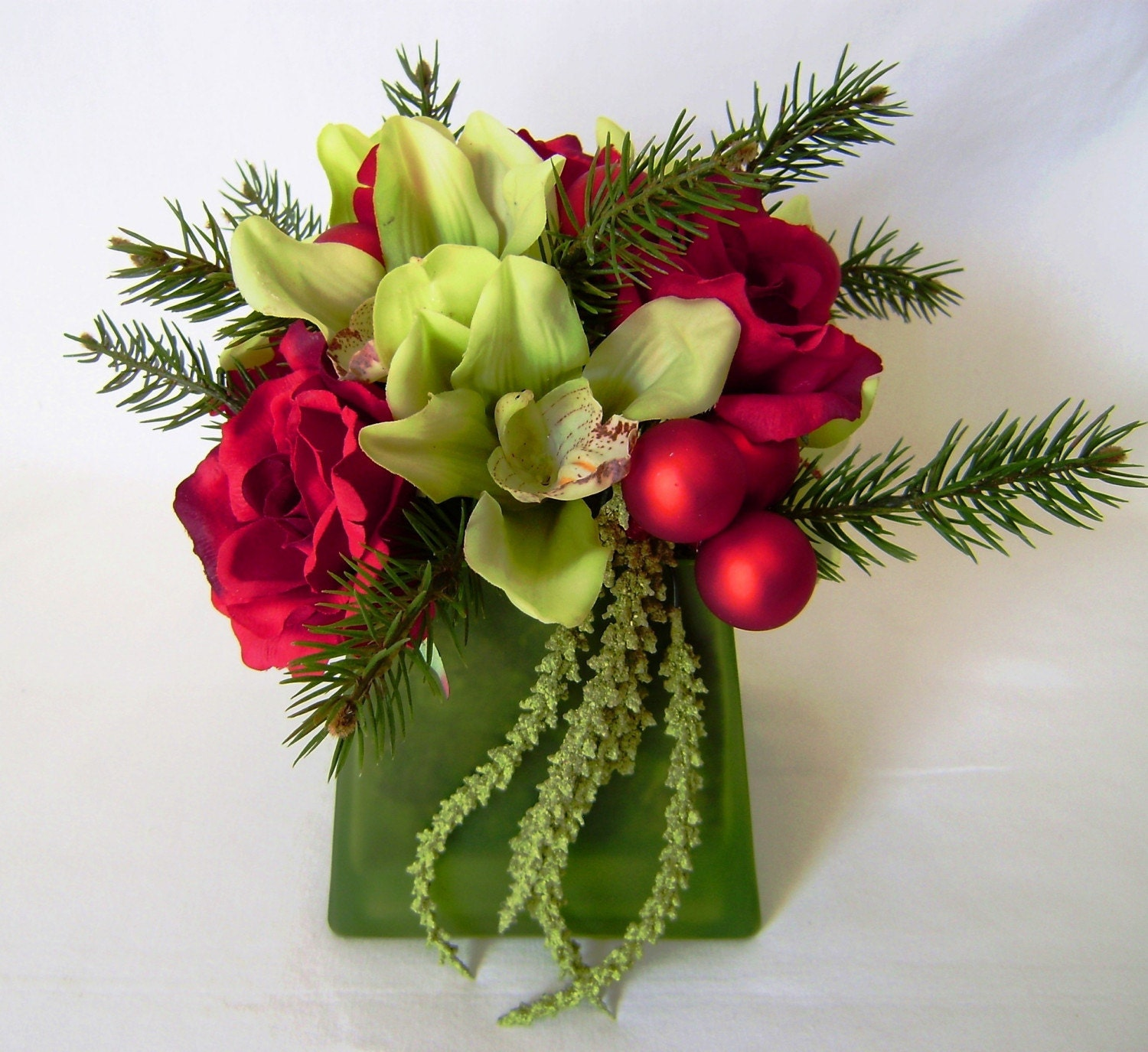 Christmas Silk Flowers - Holiday Orchids and Roses