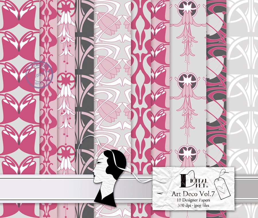 Art deco vol 7 scrapbook paper pack 10 digital by digitalpet - Deco vol ...
