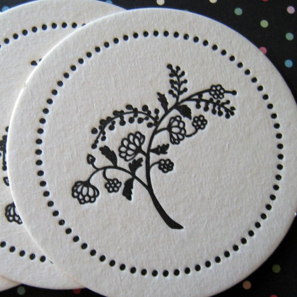 Letterpress Coaster Set - black flowers