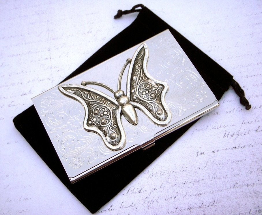 Steampunk business card holder with art nouveau by for Steampunk business card holder