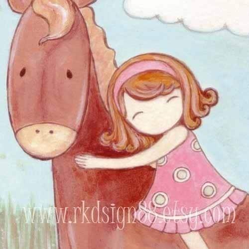 I care - Horse Whimsical Nursery Art Print for Children Room