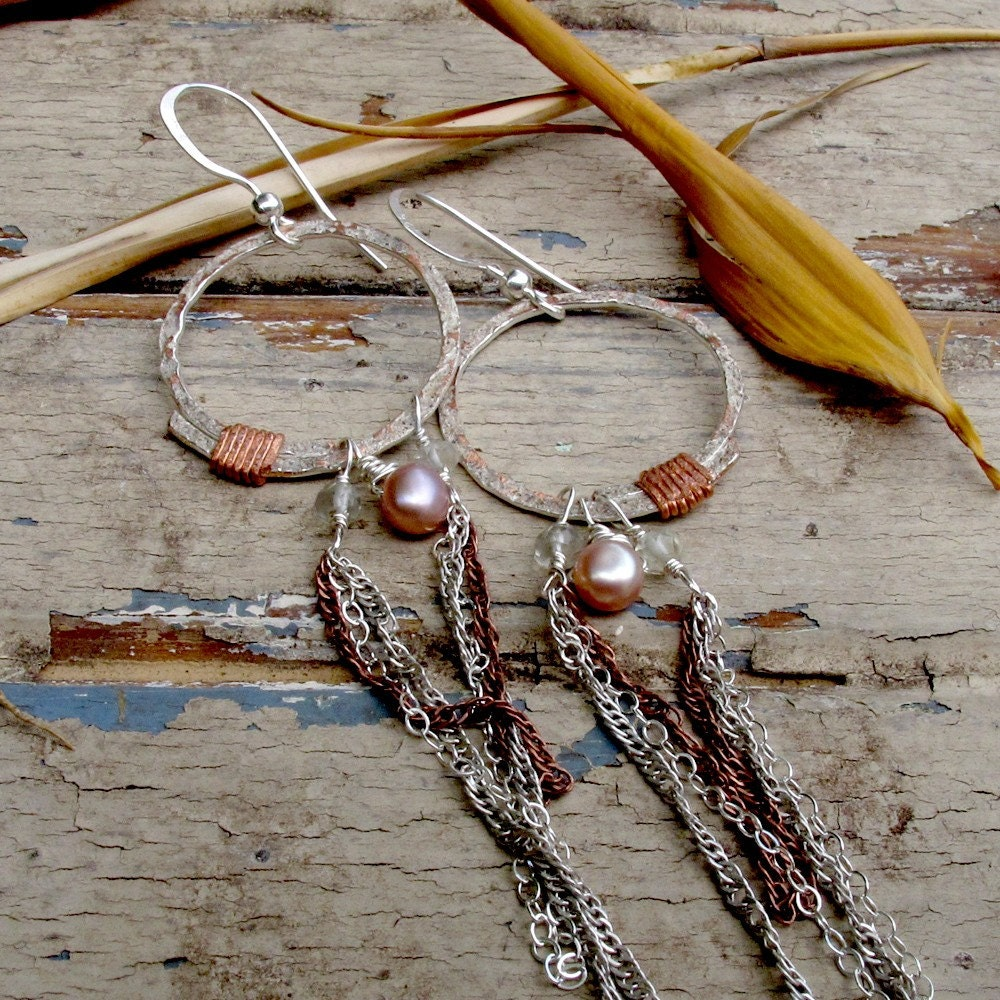 Freshwater Pearl and Quartz Earrings