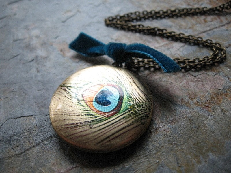 Handmade Necklace, Silk Screened Locket, Antiqued Brass Chain - Peacock Feather