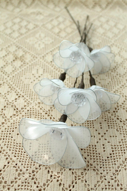Белые цветы ручной Потертый Chic декора Главная