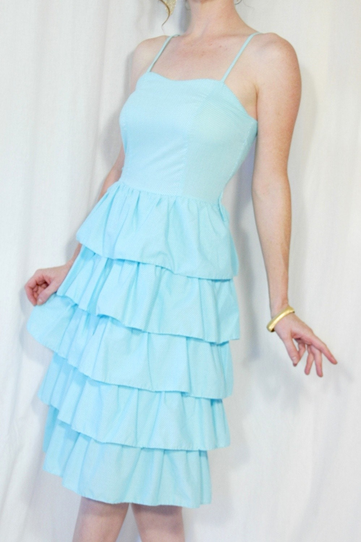Vtg BOHO BLIZZARD - 80s Blue Polka Dot Ruffle Dress Summer Bridesmaid Cocktail Chic S M