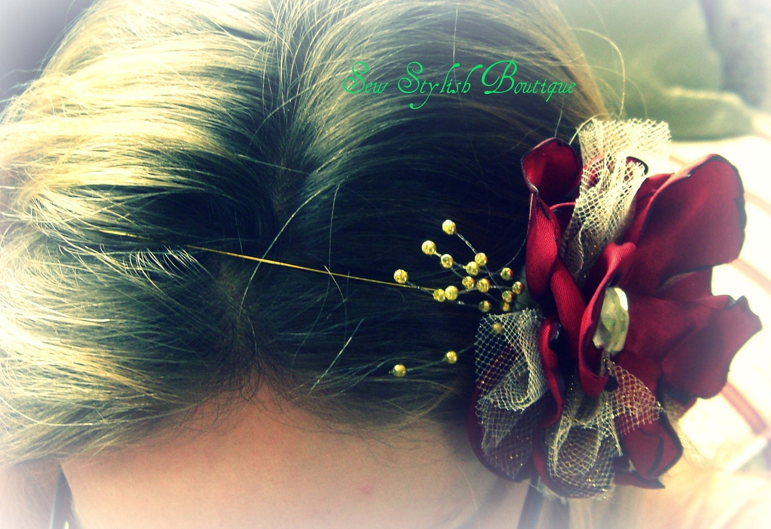 Elegant Red and Gold Flower Headband, can also be worn in an up do or as a necklace