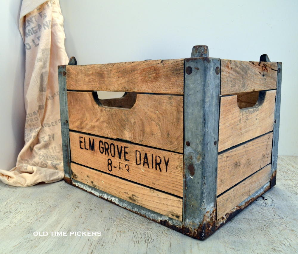 wooden dairy milk crate from elm grove dairy by oldtimepickers. Black Bedroom Furniture Sets. Home Design Ideas