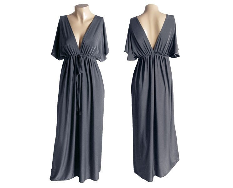 Sexy V-Neck Kimono Empire Maxi Long Sun Dress - Gray (DSD-226)