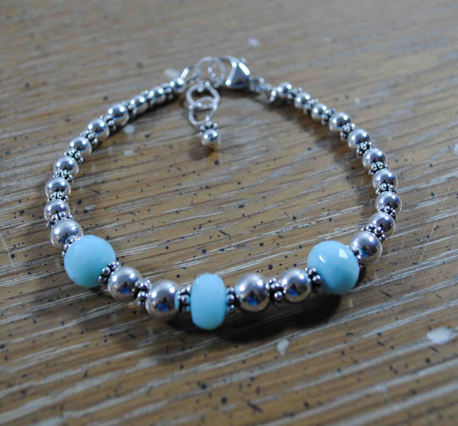 Faceted Peruvian Blue Opal and Sterling Silver Bracelet - BridgetsCollection
