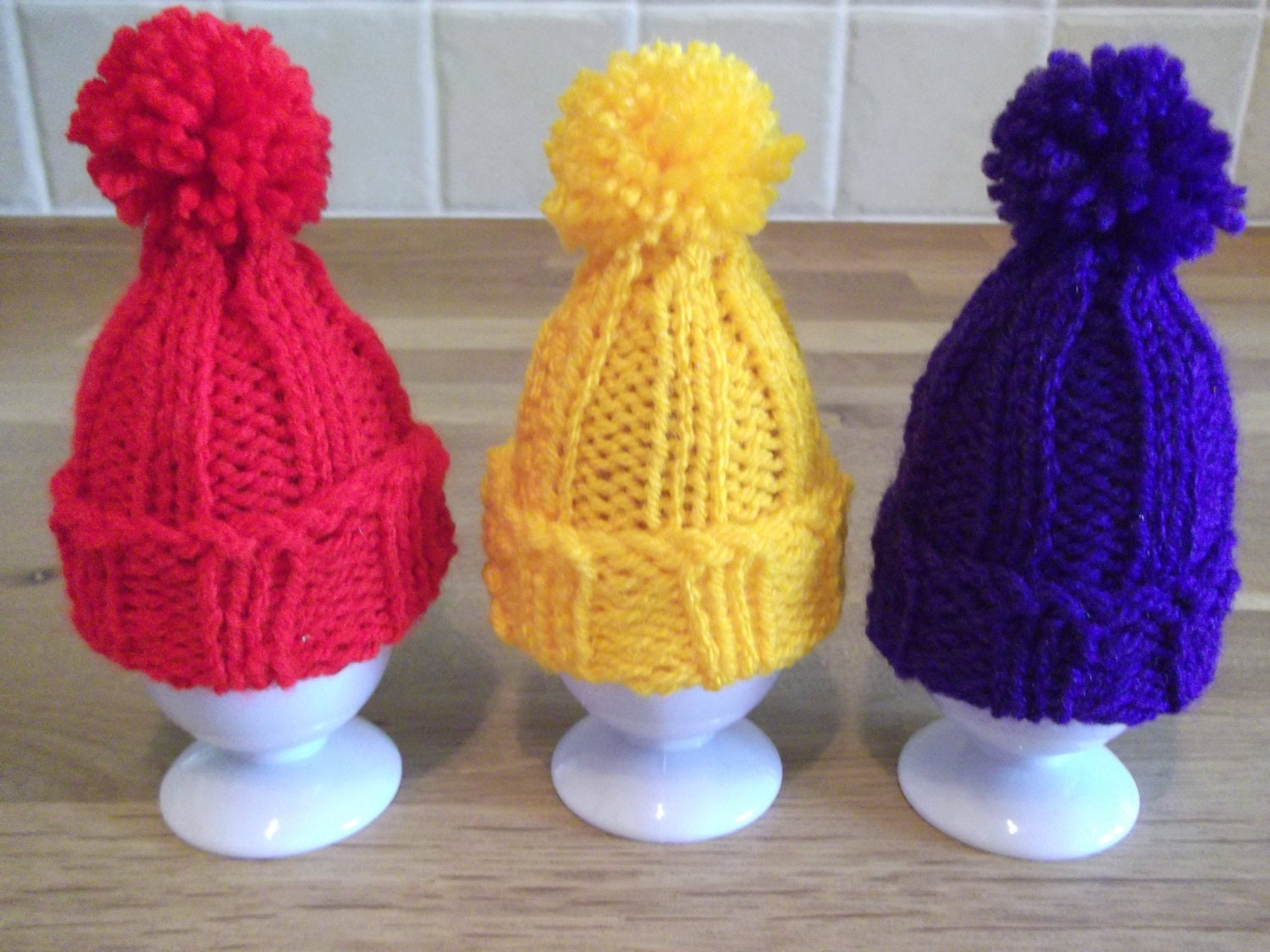 Easter Egg Cosy Knitting Pattern : Knitting pattern Egg Cosy Tiny Pompom Hat. by LoopsandLavender