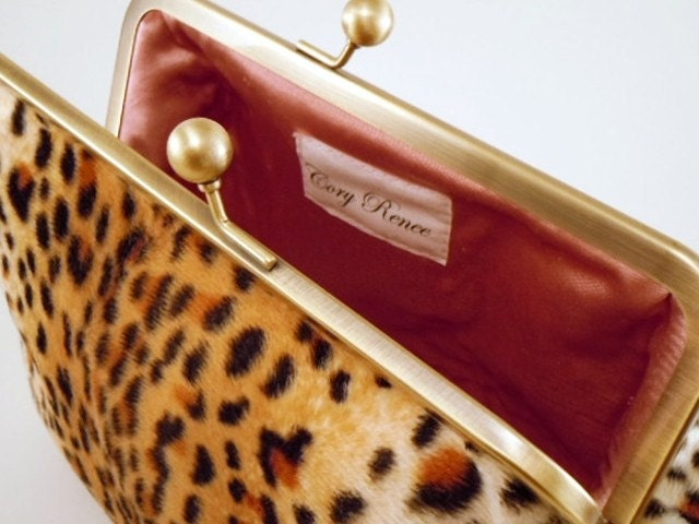 Clutch Purse - Faux Leopard and Retro Pink