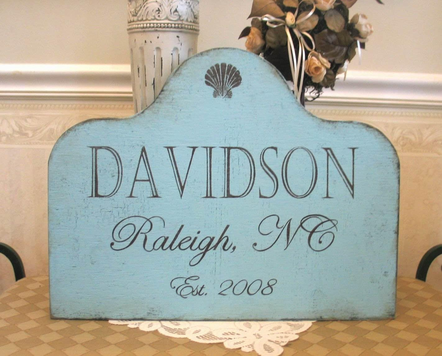 PERSONALIZED CUSTOM FAMILY  house shabby cottage handmade wooden sign