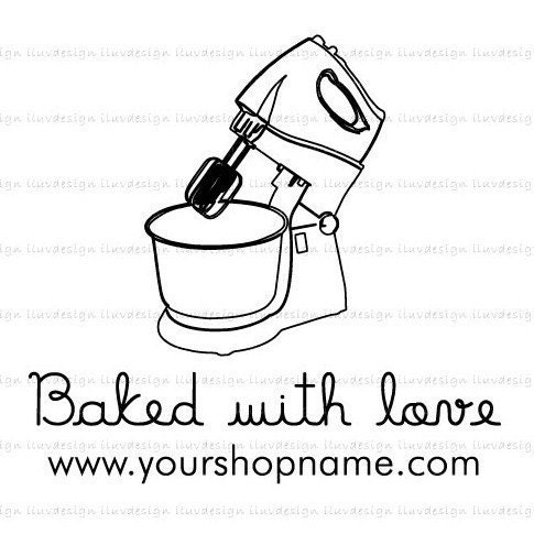 CAKE MIXER (Clear Rubber Stamp) - Return Adress / Your Shop Name / Thank You / Baked with love by / Personalize with your own texts. Item 1004