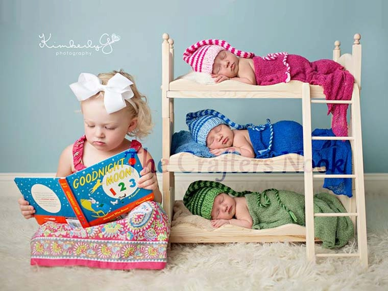 DIY Triple Doll Bed Bunk Bed Mattresses and Ladder Newborn Photography ...