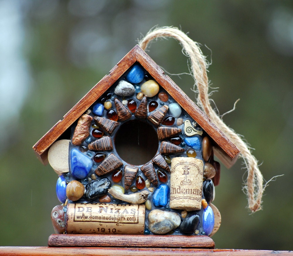 Recycled Outdoor Blue Mosaic Birdhouse with Wine Corks - WinestoneBirdhouses