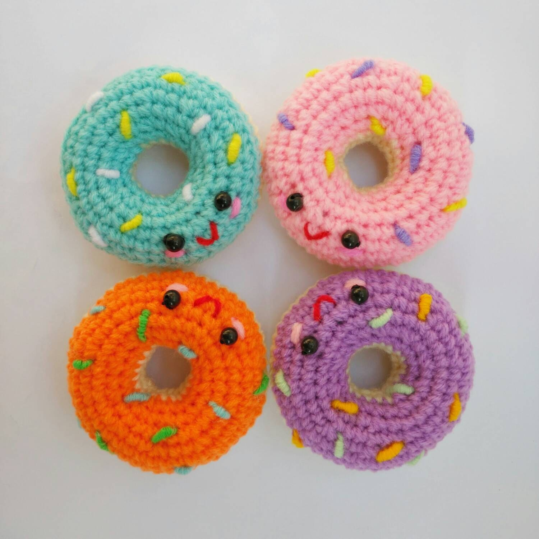 Mini Cute Donut Amigurumi Crochet Doll Charming Keychain