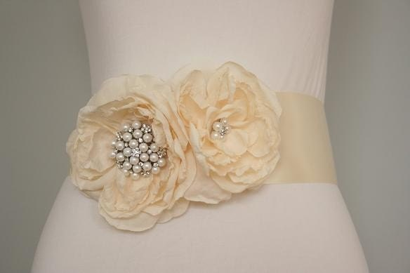 AGNES - bridal, double blooms, rhinestones, sash - Ready to ship
