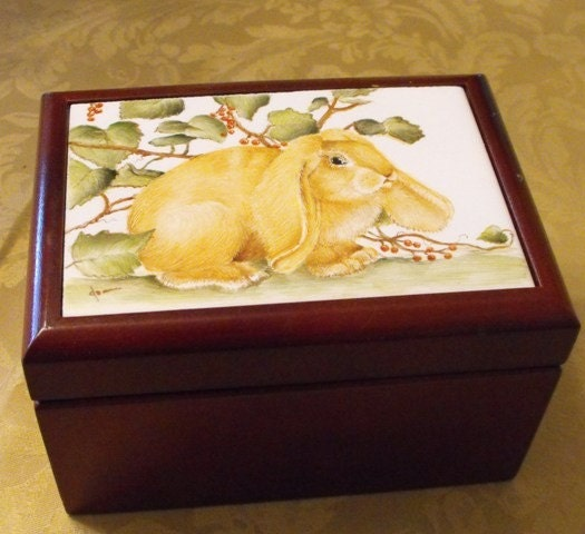 Handpainted porcelain recipe box or tea box.