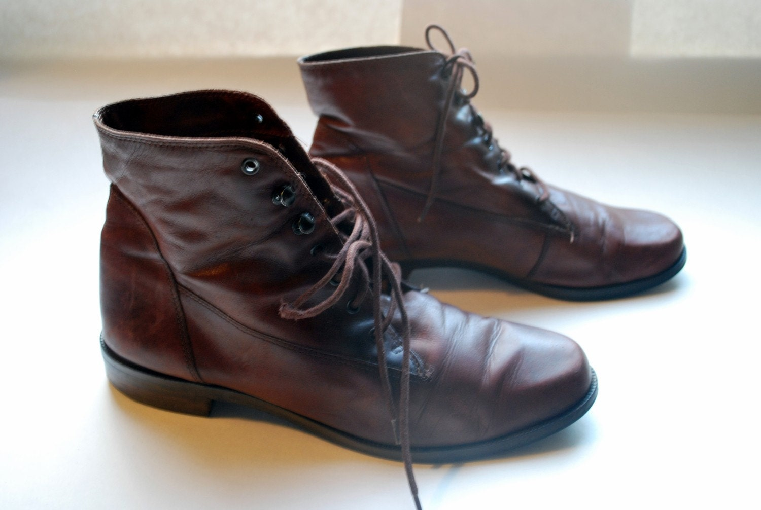 Simple and Supple brown leather granny boots .vintage lace up shoes by Nine West in 8 1/2 it seems