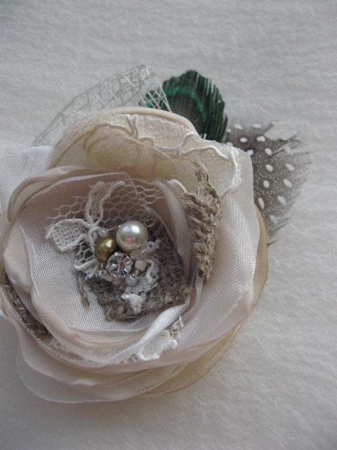 Vintage Rustic Wedding bridal fascinator Hair clip or Boutonniere Flower