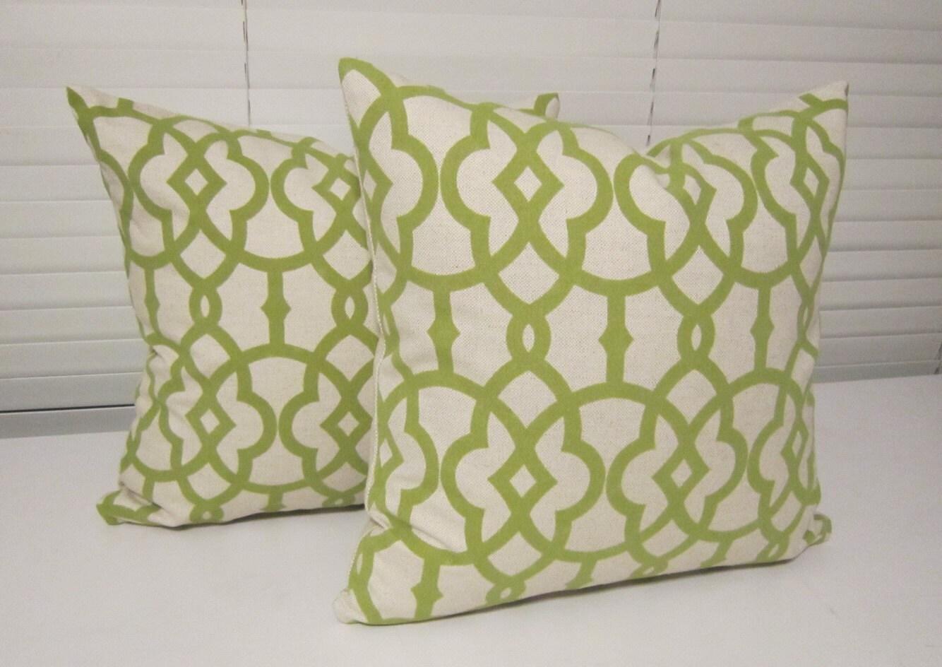 Green Geometric Throw Pillow : Flocked Green Geometric Decorative Pillow by PillowLoftHomeDecor