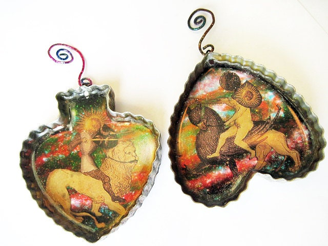 The Battle. Cosmic Alchemy Resin Ornament in Vintage Cookie Cutter.