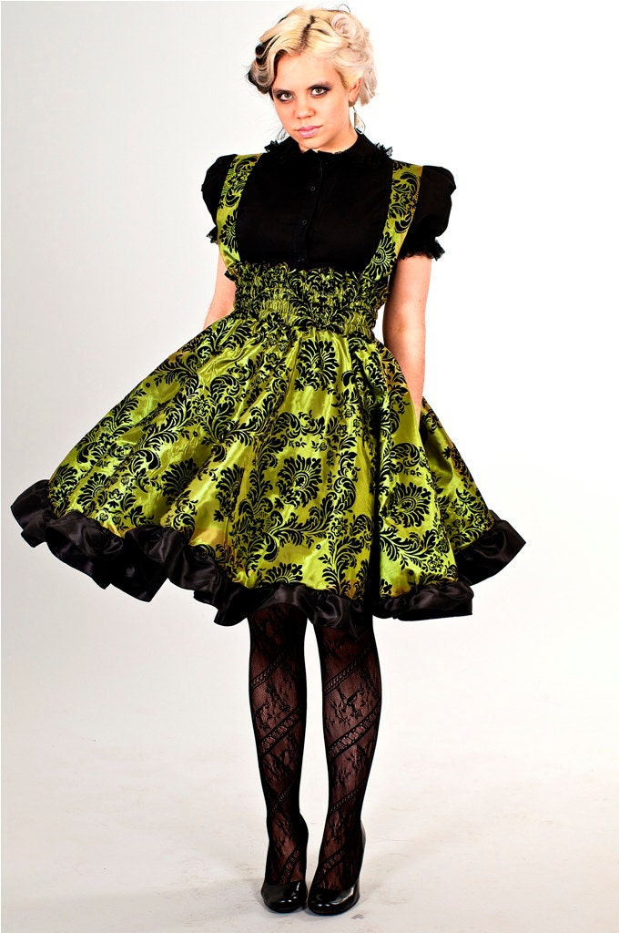 Gothic Lolita Dress Lime Green Taffeta Velvet Flock Custom to Order