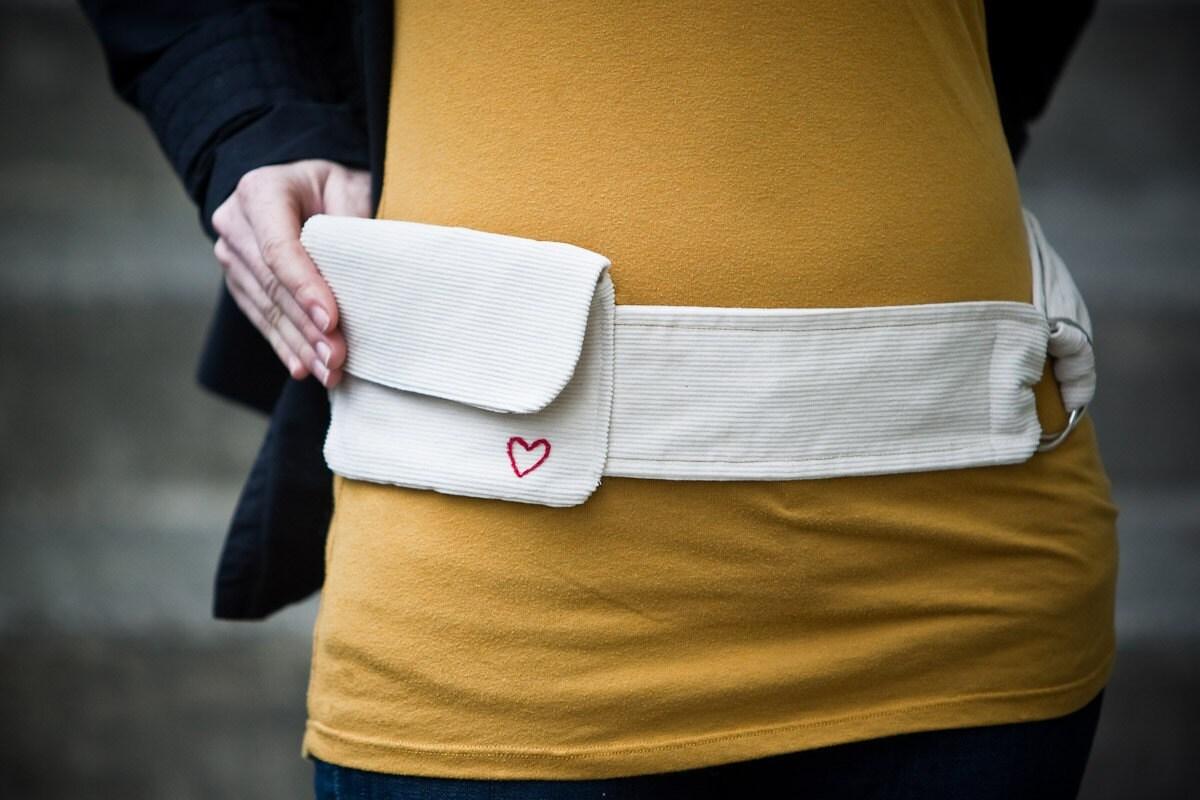 The Hip Bag in Cream Corduroy- Medium