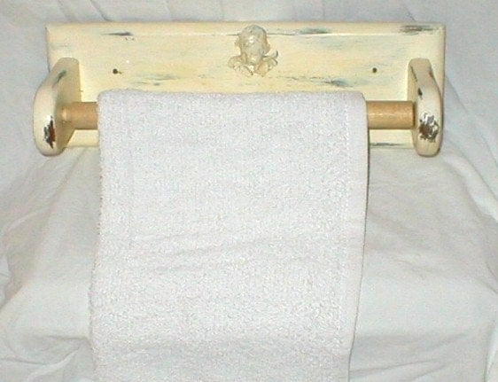 Vintage shabby chic towel paper towel holder with by for Shabby chic towel stand