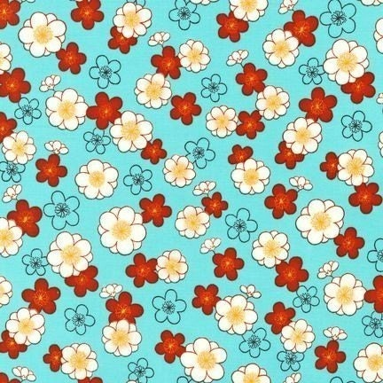 Robert Kaufman Kawaii Asian Sakura Cherry Blossom Blue Fabric - By the Yard