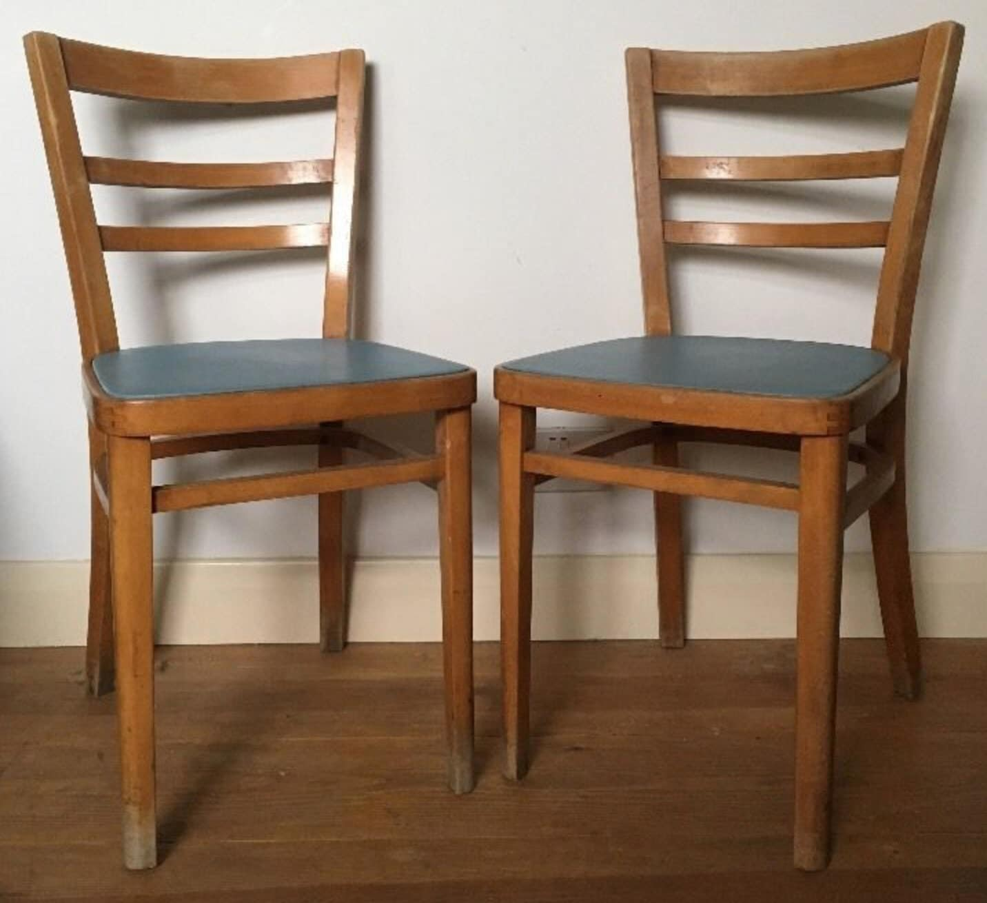 Mid Century Kitchen Chairs X 2  Stoe Furniture  Pale Blue Seats  1950s