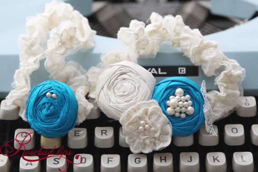 Something Turquoise Blue Bridal Wedding Garter Set with Toss