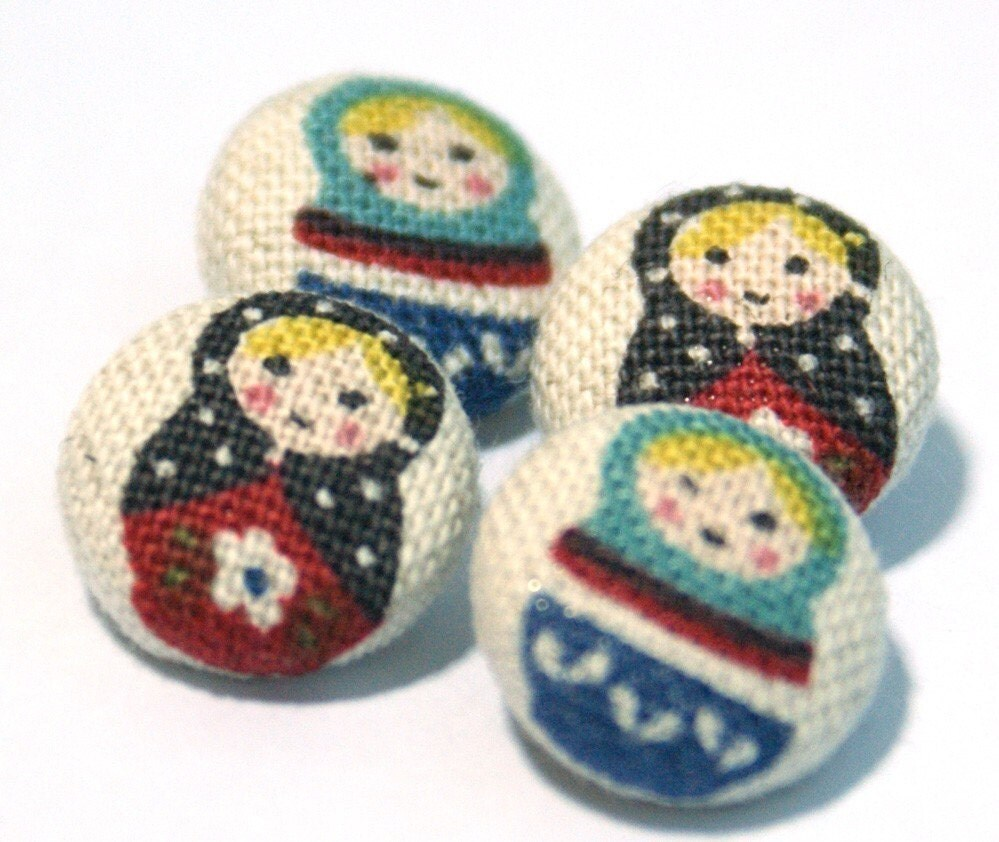 Adorable Matryoshka on Natural- Mini Fabric Sew On Buttons