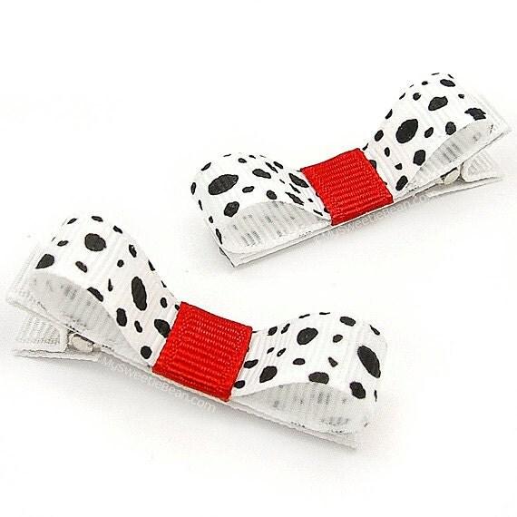 Dalmatian Hair Clips, Dalmatian Tuxedo Bows, Black, White, Red, Dalmatian, Gift Idea for Fire Fighter's Baby, Toddler Hair Clips - MySweetieBean