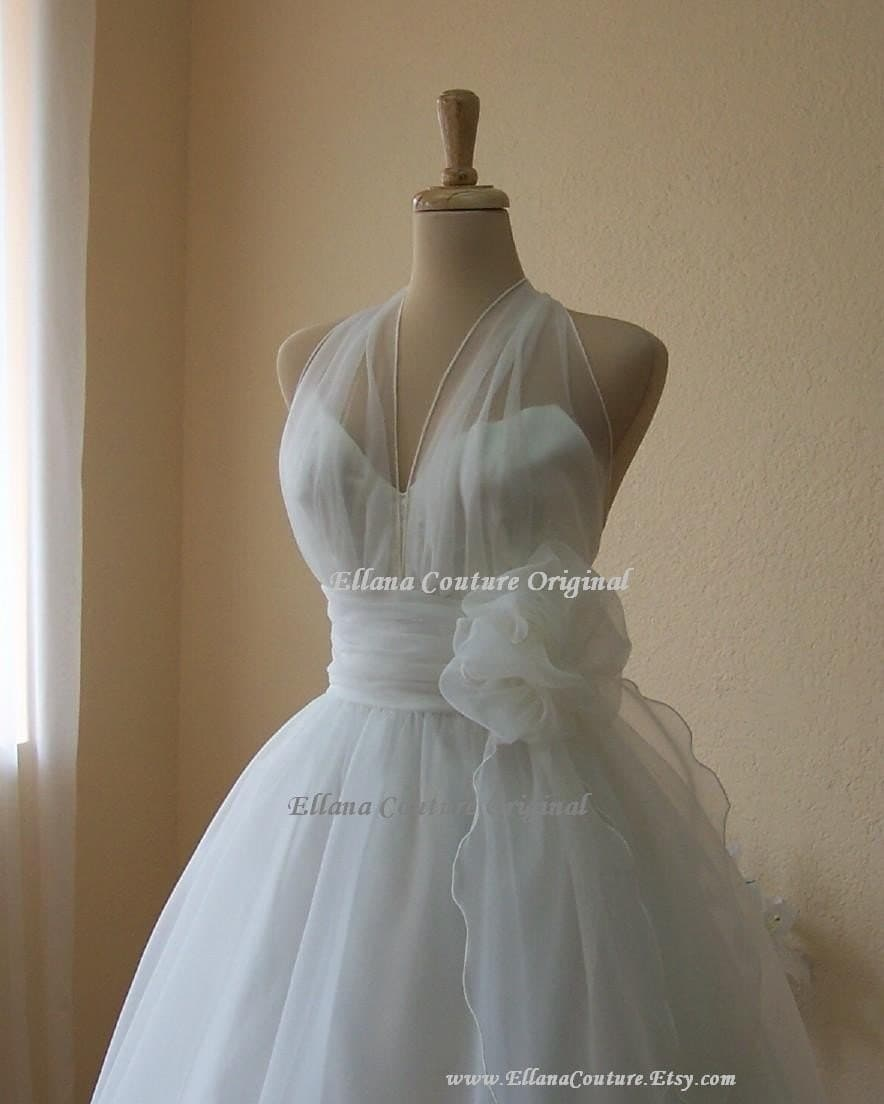 Merilyn - Retro Inspired Tea Length Wedding Dress. Vintage Style Organza Bridal Gown.
