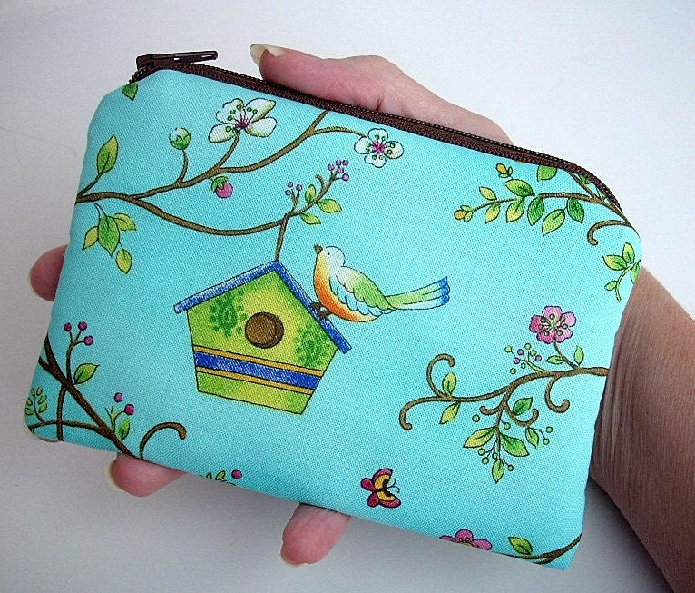 NEW--ECO-FRIENDLY Little Zipper pouch coin purse Gadget Case--Aqua Bird House (Padded)