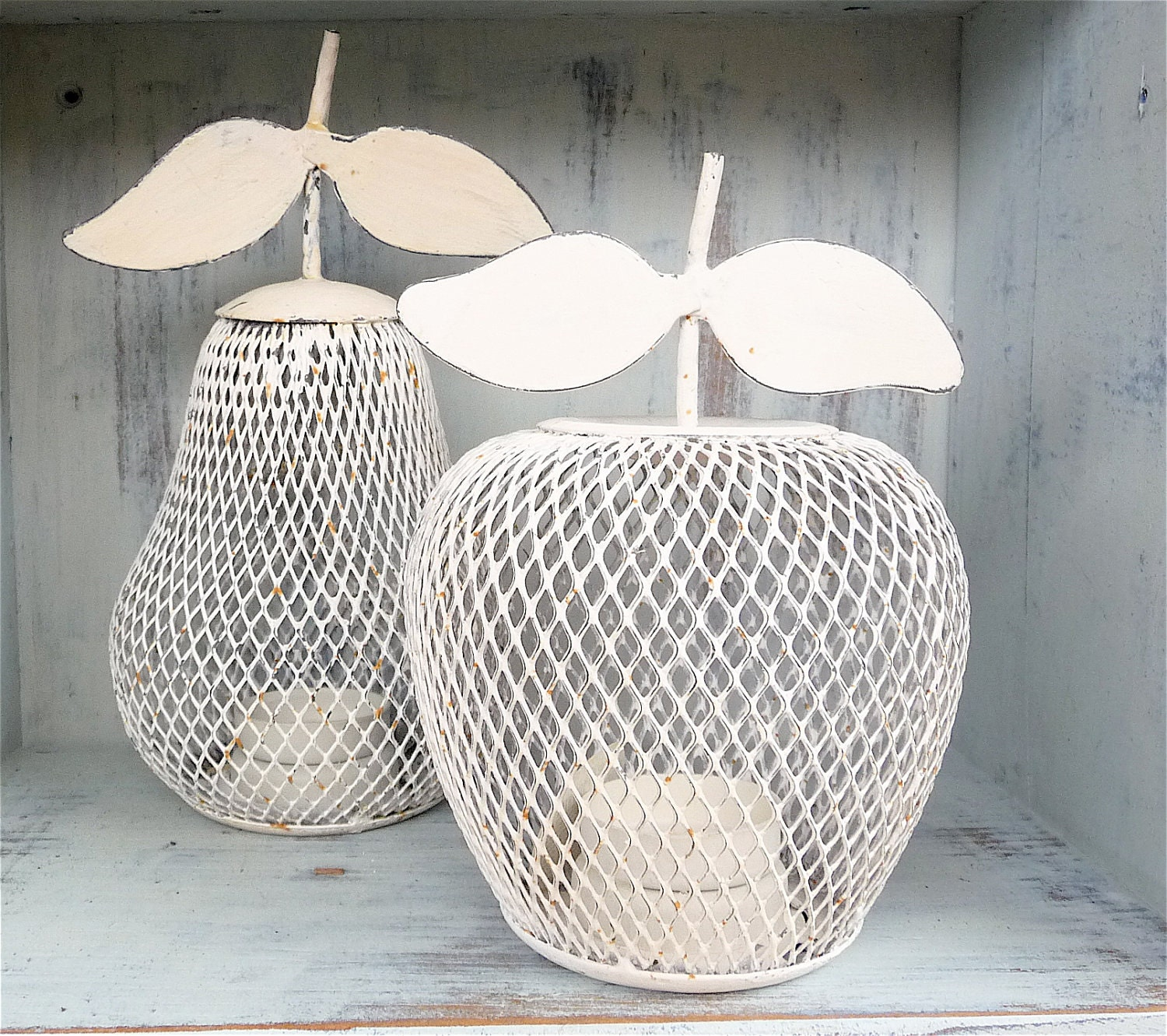 Pear and Apple Wire Candle Holders