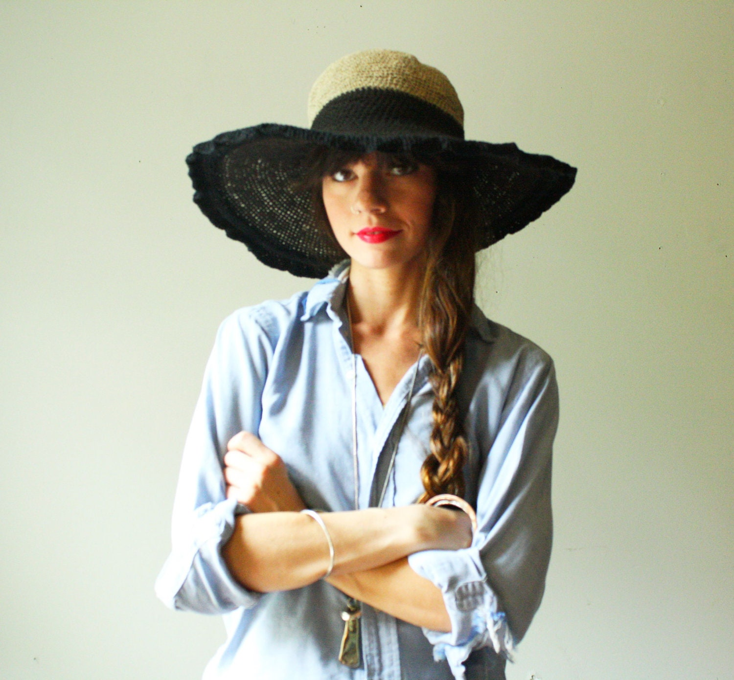 travel.  handmade floppy brim sun hat.  organic hemp with large wire brim. one size - WhatsOliviaWearing