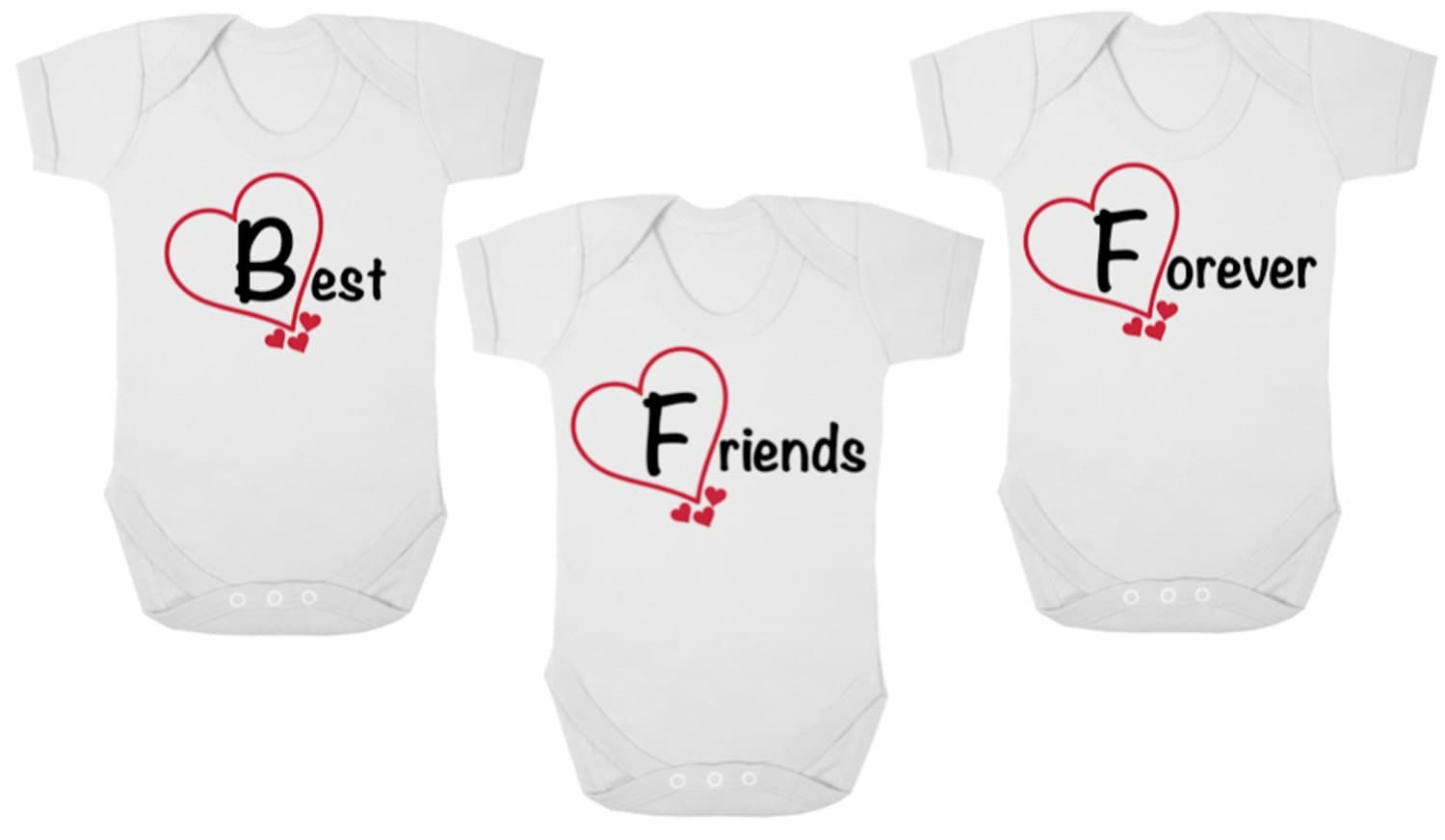 BFF Best Friends Forever      New TRIPLETS Baby BodysuitsBaby Grows OnesiesVestsRompers Baby Shower Newborn Gift Christening Gift