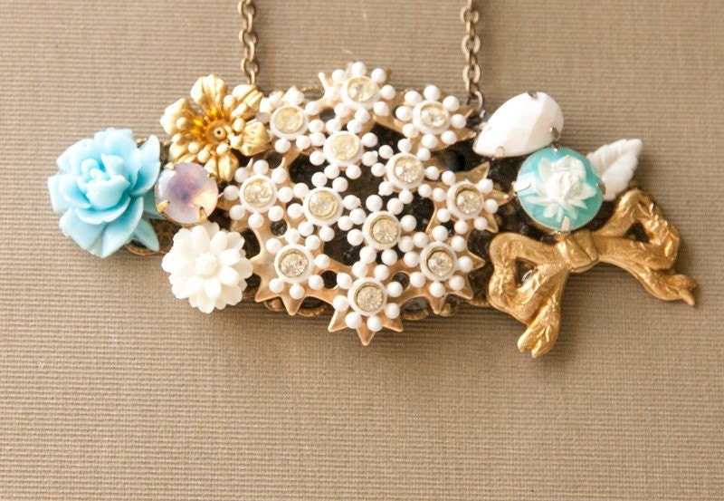 SALE- Gold Bow Vintage Collage Necklace