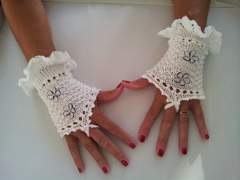 White mercerised cotton Ladies knitted wedding wristwarmers - fingerless gloves - wristers - mittens - mits - pinkvalleyNL